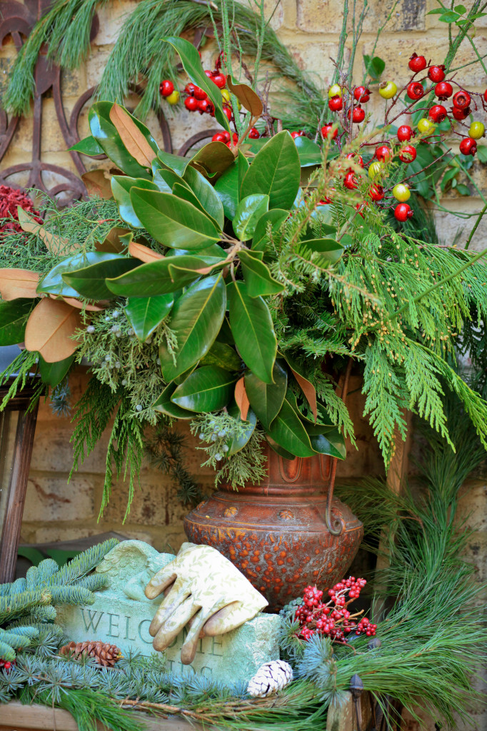 Evergreen Christmas garden arrangement.